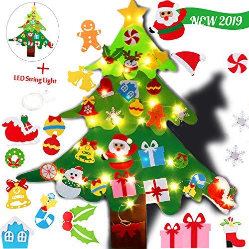 Legendog Albero Natale Feltro Sentito Feltro Albero Natale 3,28 ft con Patch 28PCS con Ornamenti Glitter 5M per Regali di Natale Decorazioni per Appendere Le Pareti della Porta di Natale