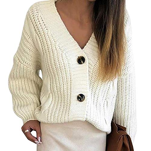 Strickjacke Damen Cardigan Strickpullover Frauen Herbst Frauen Lässig Langarm Button Cardigan Strickpullover Mantel Femme Winter Warme Kleidung Average Size Weiß