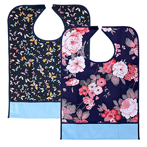 Sumnacon 2 Pcs Reusable Adult Bibs with Crumb Catcher - Waterproof Bibs for Adults, Washable Bibs for Disabled Handicapped Elder People, Flower+Butterfly