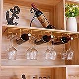 YYSD Hanging Wine Glass Rack and Bottle Holder, Under Cabinet Stemware Rack Glass Holder, Retro Wine Glass Drying Rack for Bar Kitchen Pub(Black,Gold)