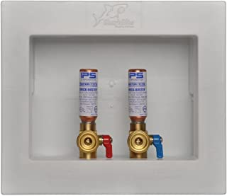 Sharkbite 25031A Washing Machine Outlet Box with Water Hammer Arrestor, 1/2 inch x 3/4 inch MHT, Push-to-Connect Copper, PEX, CPVC, PE-RT Pipe