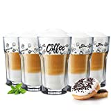 Sendez - 6 Bicchieri da caffè da 300 ml, per Latte Macchiato e tè, con Cucchiaio, 12x7,5 cm