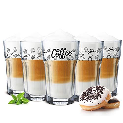 Sendez 6 Kaffeegläser 300ml Latte Macchiato Gläser Teeggläser Cocktailgläser Caipirinha (Ohne Löffel)