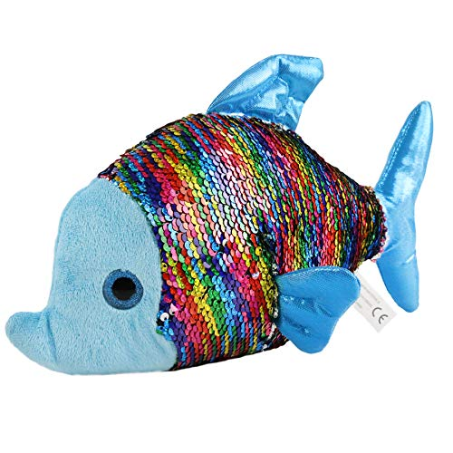 Athoinsu Flip Sequin Stuffed Fish Soft Plush Toy with Reversible Sparkle Sequins Valentine's Day Birthday for Kids Toddlers, Blue, 12''