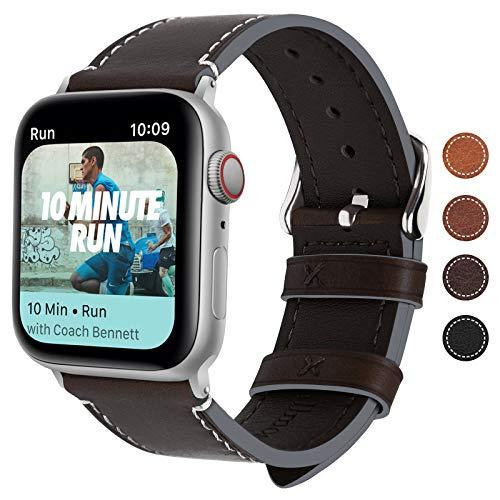 Fullmosa Compatible avec Bracelet Apple Watch Se Series 6 Series 5 Series 4 Series 3/2/1,Bracelet iWatch 38mm/40mm Cuir Femme Homme,Café + Boucle Argentée 40mm