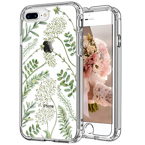 ICEDIO iPhone 8 Plus Case,iPhone 7 Plus Case with Screen Protector,Clear Cover with Green Leaves Floral Flower Patterns for Girls Women,Shockproof Protective Phone Case for iPhone 8 Plus/7 Plus