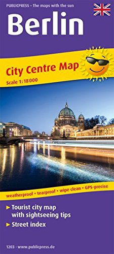 Berlin: Tourist City Centre map with sightseeing tips and Street index. 1:18000
