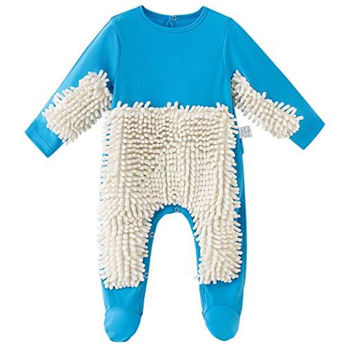 Baby Mopp Strampler Outfit Kleinkind Kriechen Overall Junge Mädchen Polituren Fußböden Reinigung Mop Schlafstrampler 9-12 Monate