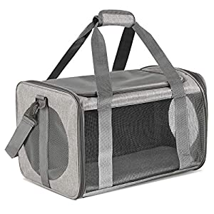 Moyeno Cat Carriers Dog Carrier Pet Carrier for Small Medium Cats Dogs Puppies up to 15 Lbs, TSA Airline Approved Small Dog Carrier Soft Sided, Collapsible Waterproof Travel Puppy Carrier – Grey