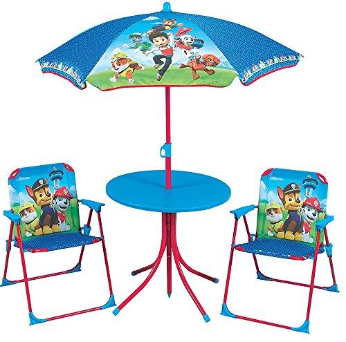 Mesa, sillas y sombrilla diseño de la Patrulla Canina