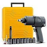 TUZkozs T-288 1/2' Air Impact Wrench Kit [ mm Size Sockets ]Heavy Duty Twin Hammer Half Inch Impact Gun 520 ft-lbs....