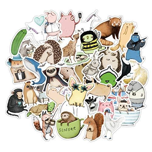 WYDML Lindo naturaleza animal de dibujos animados graffiti Skateboard Trolley caso portátil teléfono impermeable etiqueta decoración al por mayor 50 unids