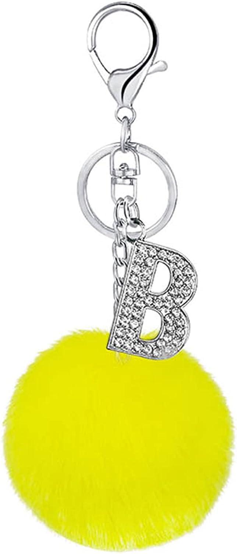 Cute Crystal Letters Key Rings Chains Pompom Faux Rabbit Fur Ball Keychains Women Men Car Bag Key Ring Jewelry Gift Keyring