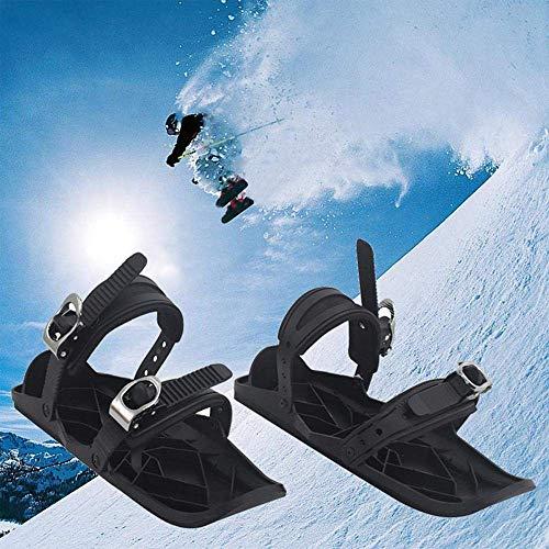 Aegilmcshoes Bindung Erwachsene Ski Skischuh, Mini Ski Alpin Skates for Snow, Skischuhe Für Männer Und Frauen, Rostfreier Stahl Schwarz Unisex Tragbar Short...