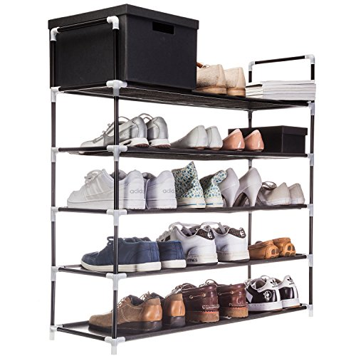 Zapatero XXL 91 x 88 x 30 cm Zapatero con 5 estantes para 25 pares de zapatos como armario y zapatero - Nero