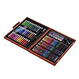 148 uds Deluxe Arte for Niños con el Caso de Madera Lápices de Color Lápices de Colores Marcadores de Aceite Pasteles de Acuarela Equipos de Pintura para Artistas Profesionales y Principiantes