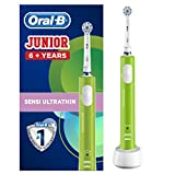 Oral-B Junior Kids Electric Rechargeable Toothbrush for Children Age 6-12, 1 Brush Handle and 1 Sensitive Toothbrush Replacement Head Powered by Braun, Green, UK 2 Pin Plug, Stocking Filler for Kids