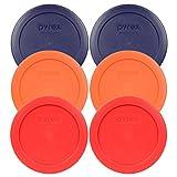 Pyrex 7200-PC 2 Cup (2) Blue (2) Orange (2) Red Round Plastic Lids - 6 Pack