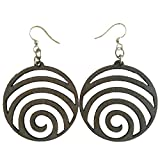 Green Tree Jewelry Wave laser-cut wood earrings sustainable eco-jewelry CHOOSE COLOR #1054 (Gray)