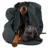 Pawsse Large Dog Sherpa Blanket 50' x 60', Super Soft Warm Plush Fleece Snuggle Pet Blanket Throw Cover for Couch Car Trunk Cage Kennel Dog Carrier, Grey