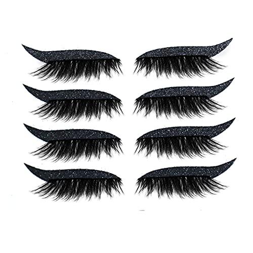 Faux Cils 3D Faux-cils Réutilisables Imperméable Full Eye Faux Cil Naturel Avec Colle 4 Paires/1 Paires Individuel Eyeliner Faux Cils (A-4 Paires-Noir)
