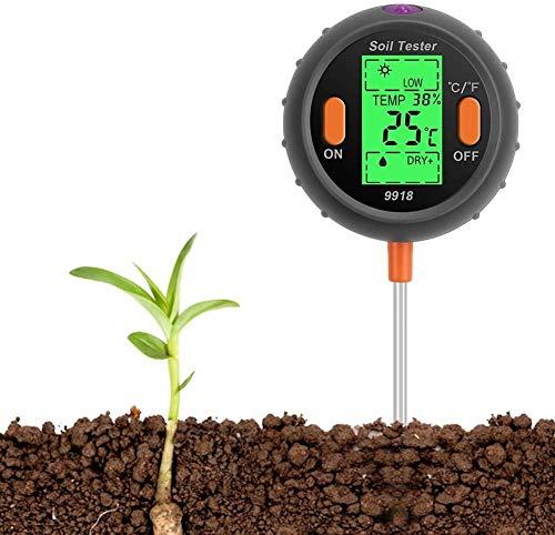Bodentester, 4-in-1 Pflanze Tester PH-Meter, Sonnenlicht, Temperatur, Feuchtigkeitsmesse PH Wert messgerät für Pflanzen, Garten, Bauernhof, Indoor, Outdoor