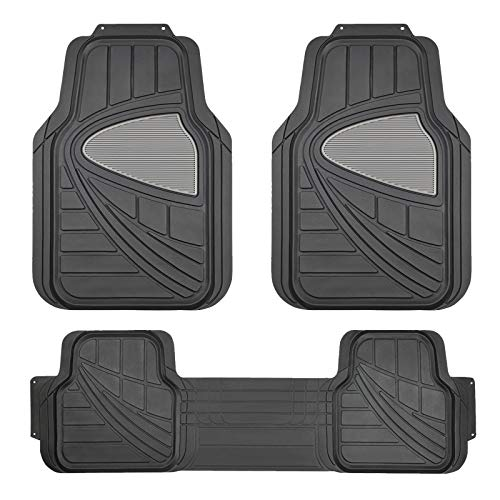 August Auto Heavy Duty Universal Fit Set of 3pcs Two-Tone Rubber Car Floor Mats Fit for Sedan, SUVs, Truck and Vansck, Black – All Weather Floor Protection (Black)