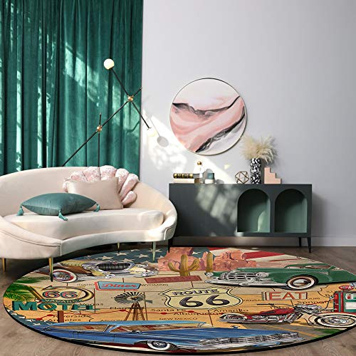 Modern Round Area Rugs Diameter 3ft, Soft Indoor Floor Mat Carpet Compatible Bedroom/Living Room/Kid's Playroom Non Slip Washable Old Classic Car Theme American Vintage Route 66 Diner Motorcycle