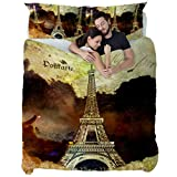 Torre Eiffel París Abstracto Arte Digital,Juego de Ropa de Cama con Funda nórdica de Microfibra y 2 Funda de Almohada - 200 x 200 cm