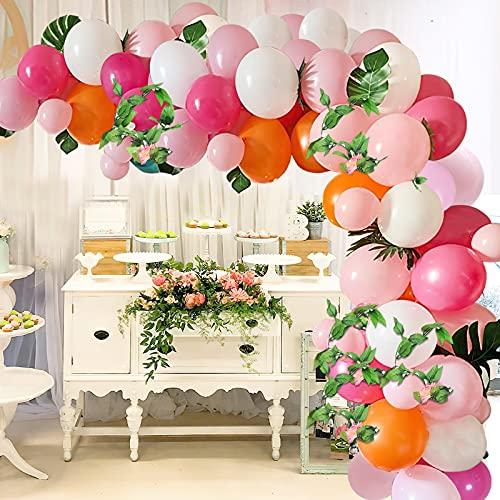 Arco de Globo Rosa Blanco Naranja SKYIOL 108 piezas Guirnalda de Globos Kit con Hoja de 5m Pegamento Lunares Guirnalda de Hojas para Niñas Mujeres Cumpleaños Boda Baby Shower Decoraciones