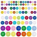 Madholly 1100 Pcs Buttons,Botones, Resin Buttons - 4 Holes Round Craft Botones para Costura, Scrapbooking, Decoraciones Hechas a Mano de Bricolaje