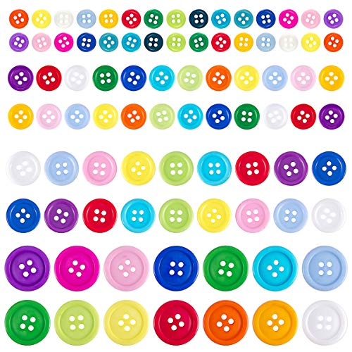 Best Price! Biubee 1100 Pcs Assorted Size Mixed Color Resin Buttons- 4 Holes Round Craft Buttons for...