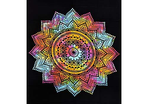 JOVAL - Mandalas Variados para decoración del hogar Estilo Indio con diseños Coloridos para Usar como Mantel o sábana, como Adorno de Pared, útil para Picnic. (Negro)