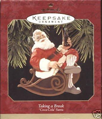Taking a Break Coca Cola Santa 1997 Hallmark Ornament