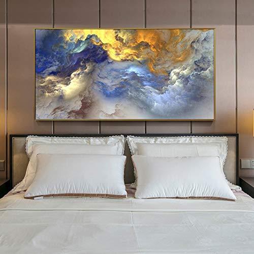 BuhuAZXM schilderij-print op canvas - Moderne posters voor woonkamer decoratie abstracte kleurrijke wolken afbeeldingen 50x100cm Geen frame.