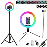 10' Selfie Ring Light with Stand & Cell Phone Holder, Ciyeboa13 Colors RGB Led Ring Light for Makeup, YouTube, Video, Live, Photography (10 Brightness Level & Remote)