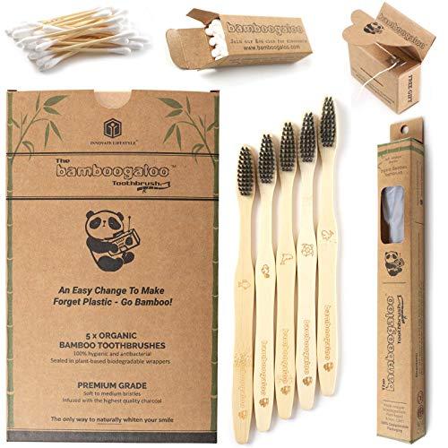 BAMBOOGALOO Cepillo Dientes Carbón Bambú Orgánico x5 -Cepillos de Dientes de Bambú con GRATIS Bastoncillos de Bambú y Hilo Dental. Ecológico, Biodegradables y Sin Plástico Embalaje. Cerdas Suave