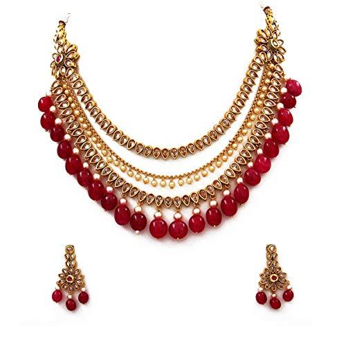 SURYAGEMS chapado en oro-cobre Cristal rojo blanco