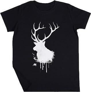 Alce Niño Niña Unisexo Negro Camiseta Manga Corta Kids Black T-Shirt
