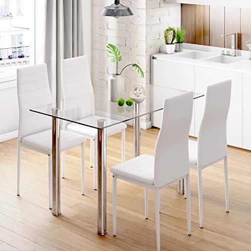 Mesa de comedor rectangular y 4 sillas, respaldo alto, sillas de piel sintetica de color blanco y cristal templado para comedor