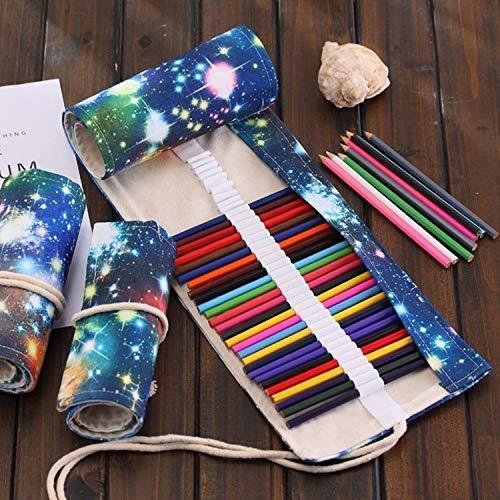 HYZXK 72 Ranuras Cosmic Galaxy Print Pen Bag Lienzo Lápiz Wrap Cortina Roll Up Estuche para lápices Estuche para papelería/m