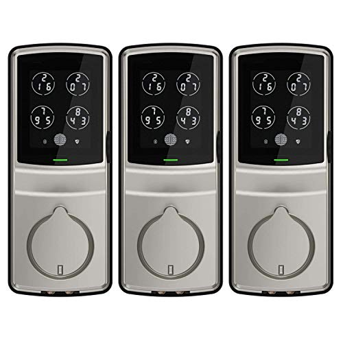 Lockly Secure Plus Digital Keypad Biometric Smart Deadbolt, Nickel (3...
