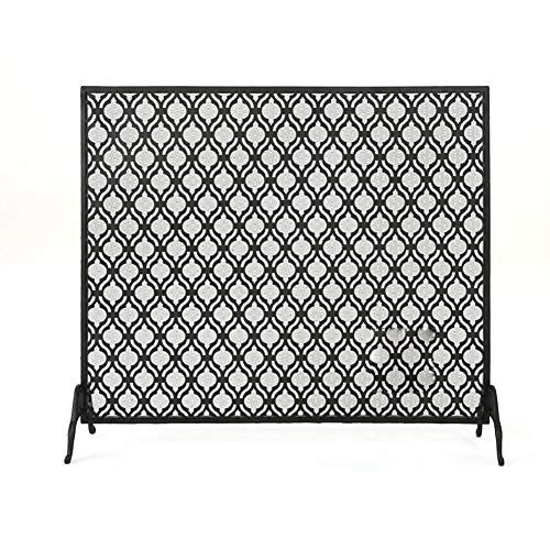 Lowest Price! ZXL Single Panel Fire Screen, Large Black Wrought Iron Fireplace Screen with Mesh Cove...