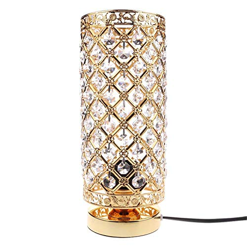 JASZHAO Modernes Tisch Lampe Kristall Schreibtisch Light Home Shade Lighting Glass Bedroom