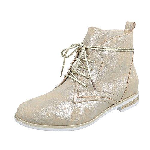 Ital-Design Schnürstiefeletten Damen-Schuhe Desert Boots Blockabsatz Schnürer Schnürsenkel...