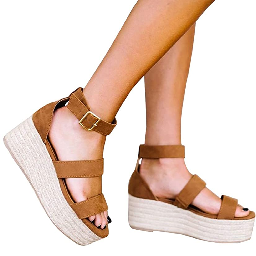 Womens Open Toe Espadrille Ankle Strap Boho Lace Up Rivet Flatform Sandals