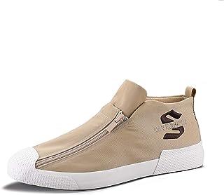 Sneakers Uomo in Tela Moda Skateboard Hip-Hop con Cerniera a Due File Scarpe comode Scarpe da Ginnastica Casual Traspiranti