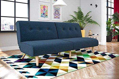 Novogratz Palm Springs Convertible Sofa Sleeper in Rich Linen, Sturdy Wooden Legs and Tufted Design, Blue Linen, 2182629N