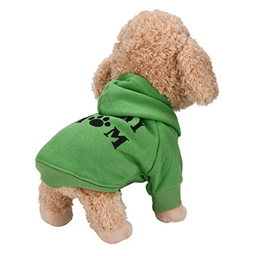 Culater My Mom Pet Vestiti del Cane per Cani di Piccola Taglia del Cane Caldo Cappotto Giacca Primavera Autunno Giacca Cucciolo Yorkies Chihuahua Vestiti (XS, Verde)