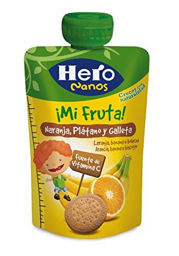 Hero Bolsita Mi Fruta Puré de Frutas Naranja, Plátano y Galleta para Bebés a partir de 12 meses 100 g